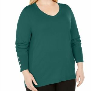 JM Collection Button-Cuff V-Neck Sweater Green 4X